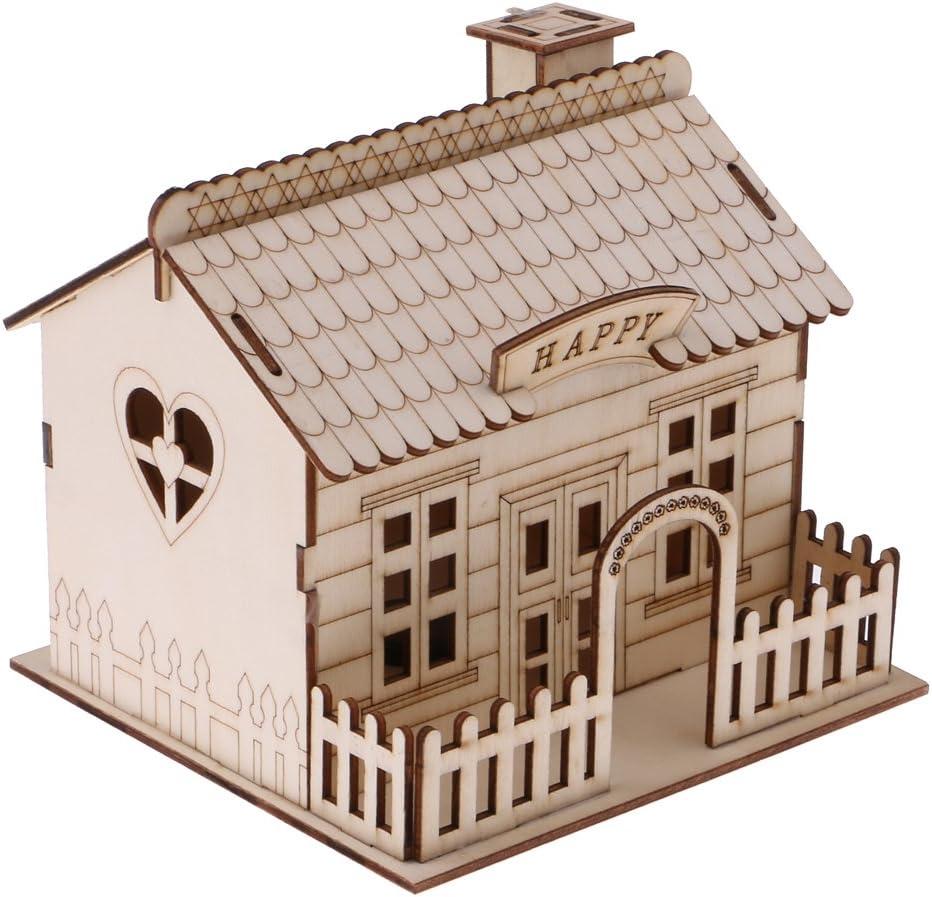 A Hucha Caja de Ahorro de Monedas Dineros Forma de Villa de Madera Regalo Creativo Decoraci/ón de Casa