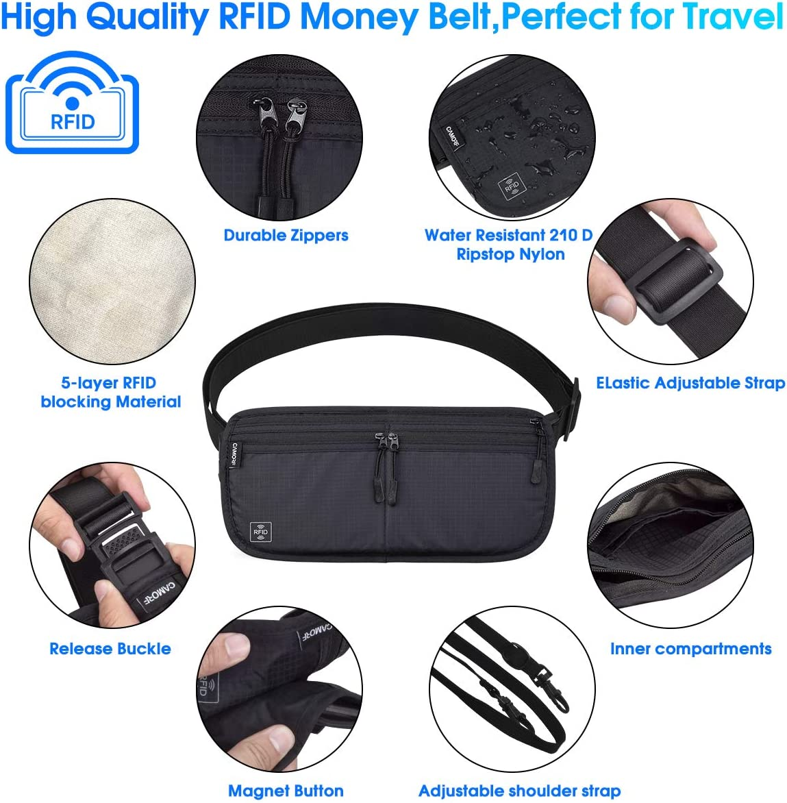 RFID Travel Money Belt Neck Pouch Hidden Wallet Passport Holder Men and Women
