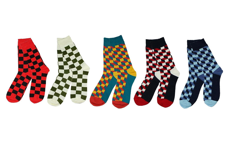 68337e9f5b6 Pinkpum Lot de 5 Paires Chaussettes pour Homme Coton Fantaisie Imprimé  Socks 41-45 Type 1  Amazon.fr  Vêtements et accessoires