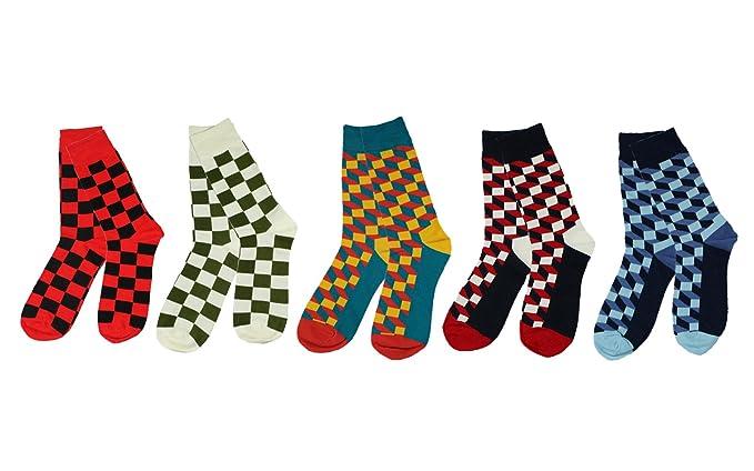 Pinkpum Calcetines Estampados Hombre 5 Pack algodón rico, cómodo, transpirable, diseño elegante calcetines de colores de moda T1: Amazon.es: Ropa y ...