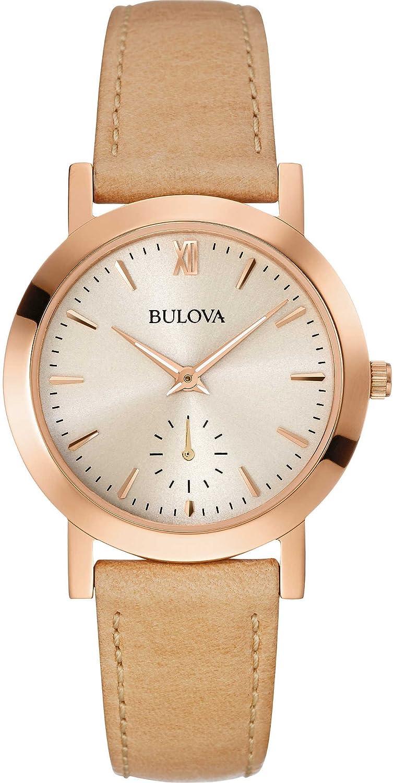 Bulova Reloj Analógico para Mujer de Cuarzo con Correa en Cuero 97L146