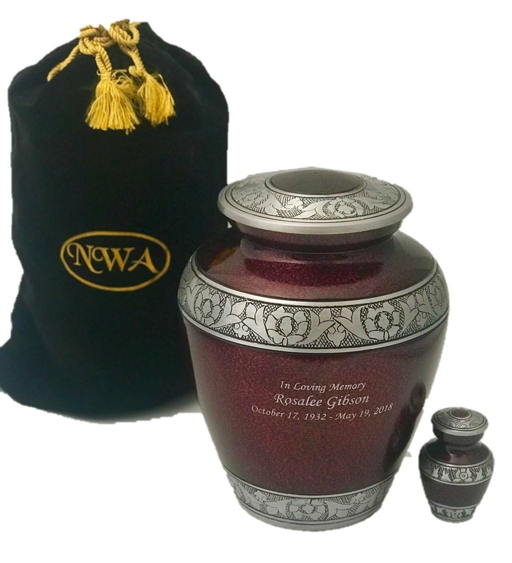 NWA Customized Cremation Urn, Adult Human Funeral Cremation Urn, Beautiful Maroon with Personalization, Keepsake and Velvet Bag