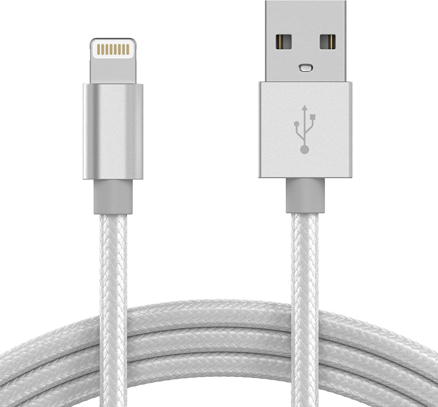 TalkWorks iPhone Charger Lightning Cable 10ft Long Braided Heavy Duty Cord MFI Certified for Apple iPhone 12, 12 Pro/Max, 12 Mini, 11, 11 Pro/Max, XR, XS/Max, X, 8, 7, 6, 5, SE, iPad - Silver