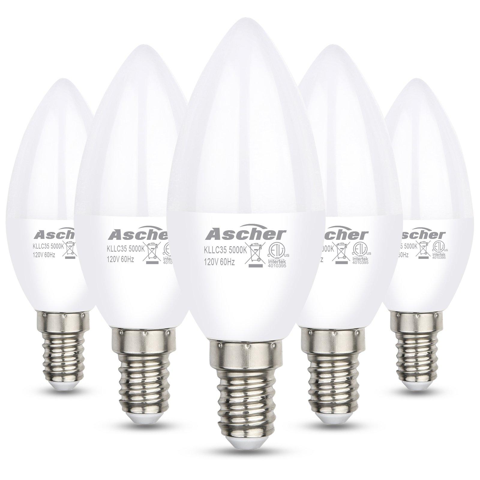 Ascher E12 LED Candelabra Light Bulbs, Equivalent 60W, 550LM, Daylight White 5000K, Candelabra Base, Non-dimmable, Chandelier Bulb, Pack of 5
