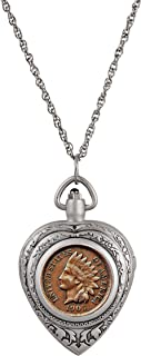 product image for Heart Watch Pendant Coin Necklace Locket with Genuine Indian Head Penny | 30-inch Rope Chain