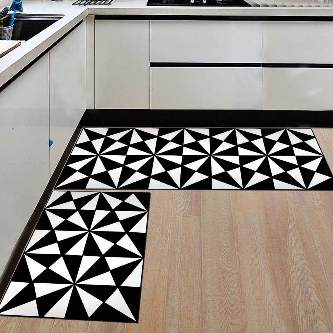 Amazon Com Nonslip Kitchen Mats And Rugs Black And White