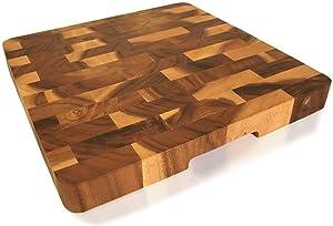 roro Wood Square End-Grain Chef Cutting Board, 14 Inch Acacia Square