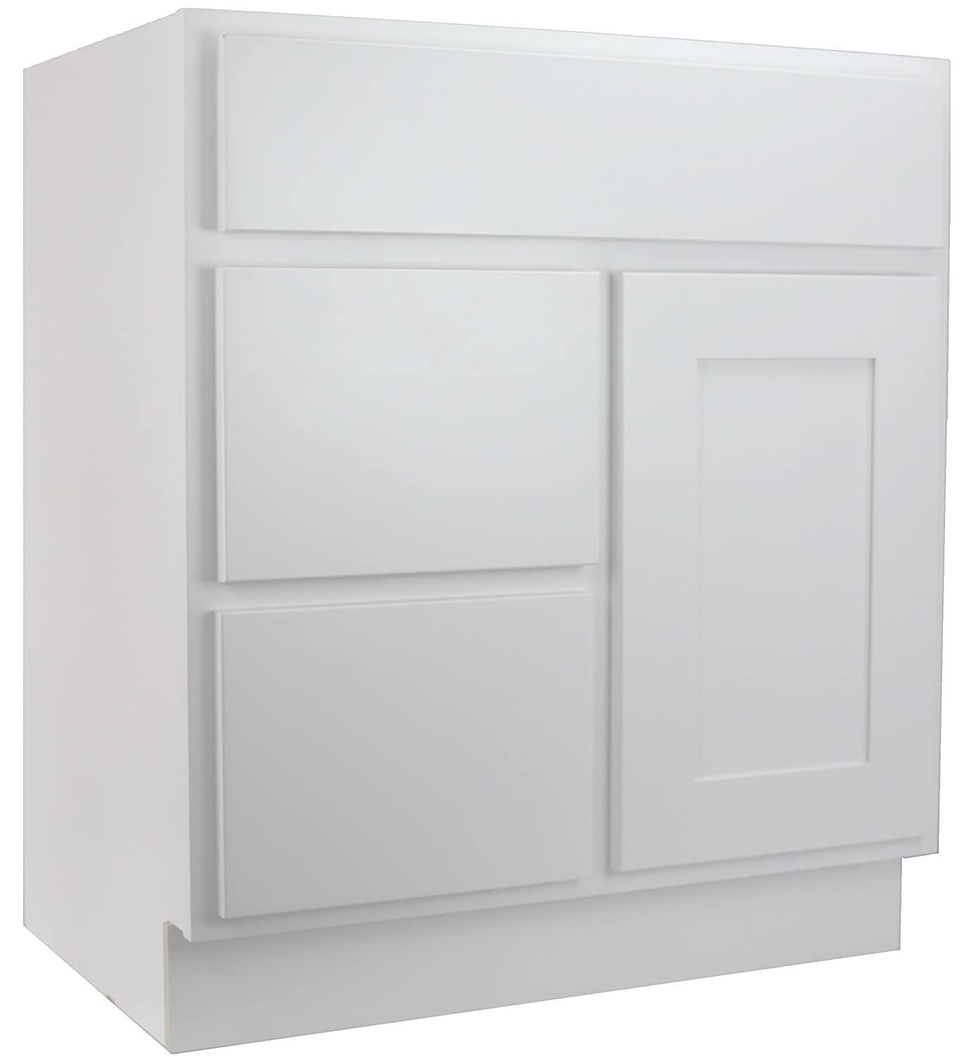 On Sale Cabinet Mania White Shaker 30 Inch Bathroom Vanity With Left Drawers Sink Rta Cabinet