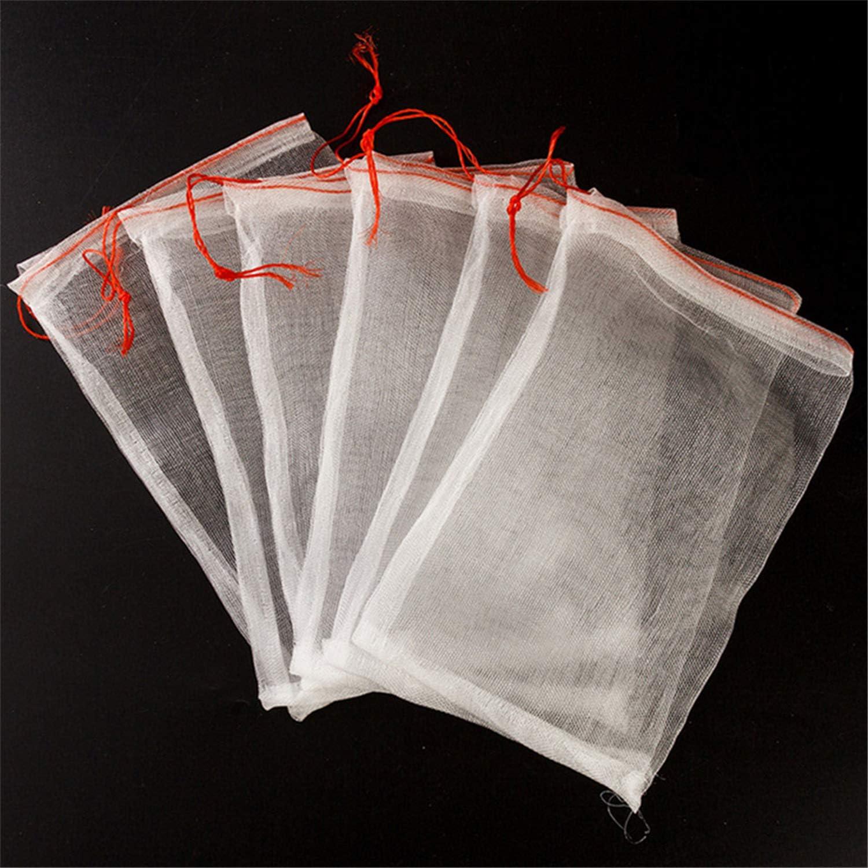 Hasenus Fruit Protection Bags,50Pcs Garden Plant Fruit Flower Protect Drawstring Net Barrier Bag,Reusable Mesh Bag for Protecting Your Plant Fruits Flower 6x4
