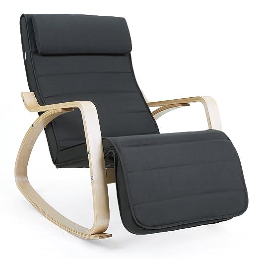 Poltrone Relax Elettriche Ikea.Songmics Sedia A Dondolo Poltrona Relax Con Poggia Gambe Di Angolo