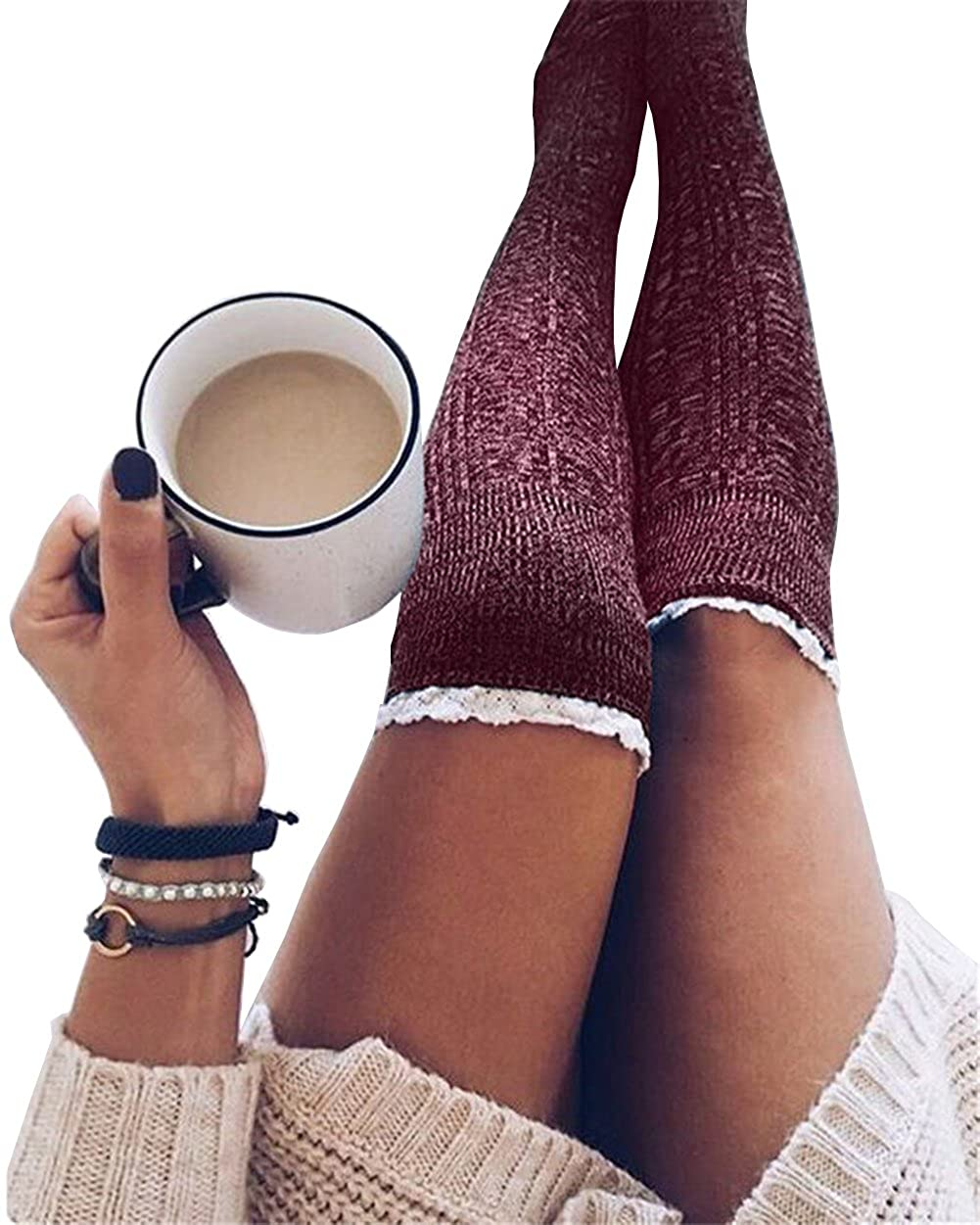 fc5921ba9a6 Women Cable Knit Extra Long Boot Socks Over Knee Thigh Stocking (One size