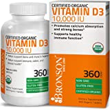 Bronson Vitamin D3 10,000 IU Certified Organic Vitamin D Supplement, Non-GMO, USDA Certified, 360 Tablets