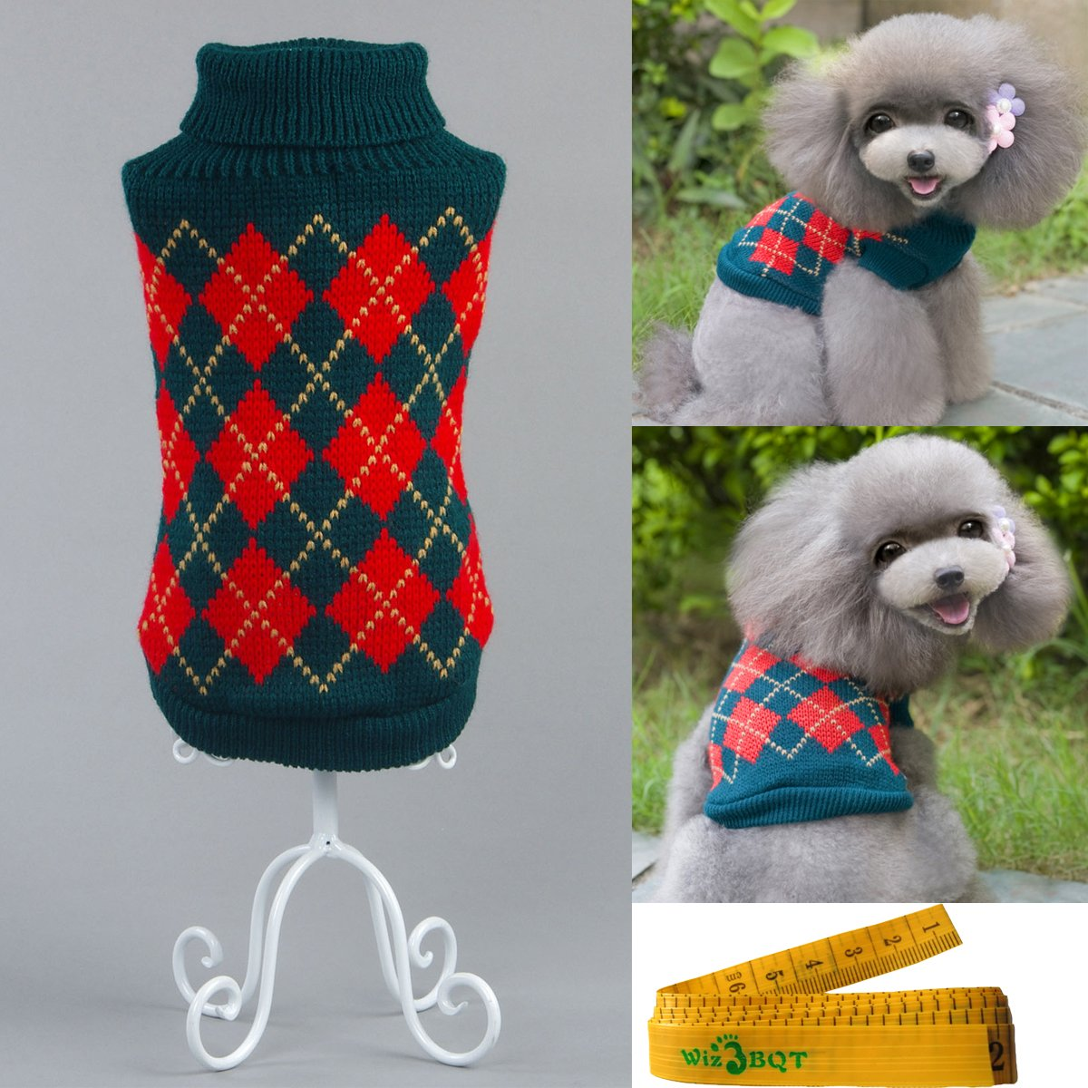 Gentle Knitted Turtleneck Chic Argyle Pet Sweater Knitwear for Dogs & Cats