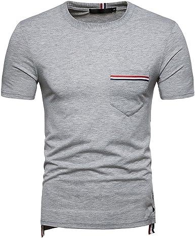 AiRobin-Hombre Casual Diario Salir Camiseta Manga Corta Cuello Redondo en Color Liso, Gris Claro, M: Amazon.es: Ropa y accesorios