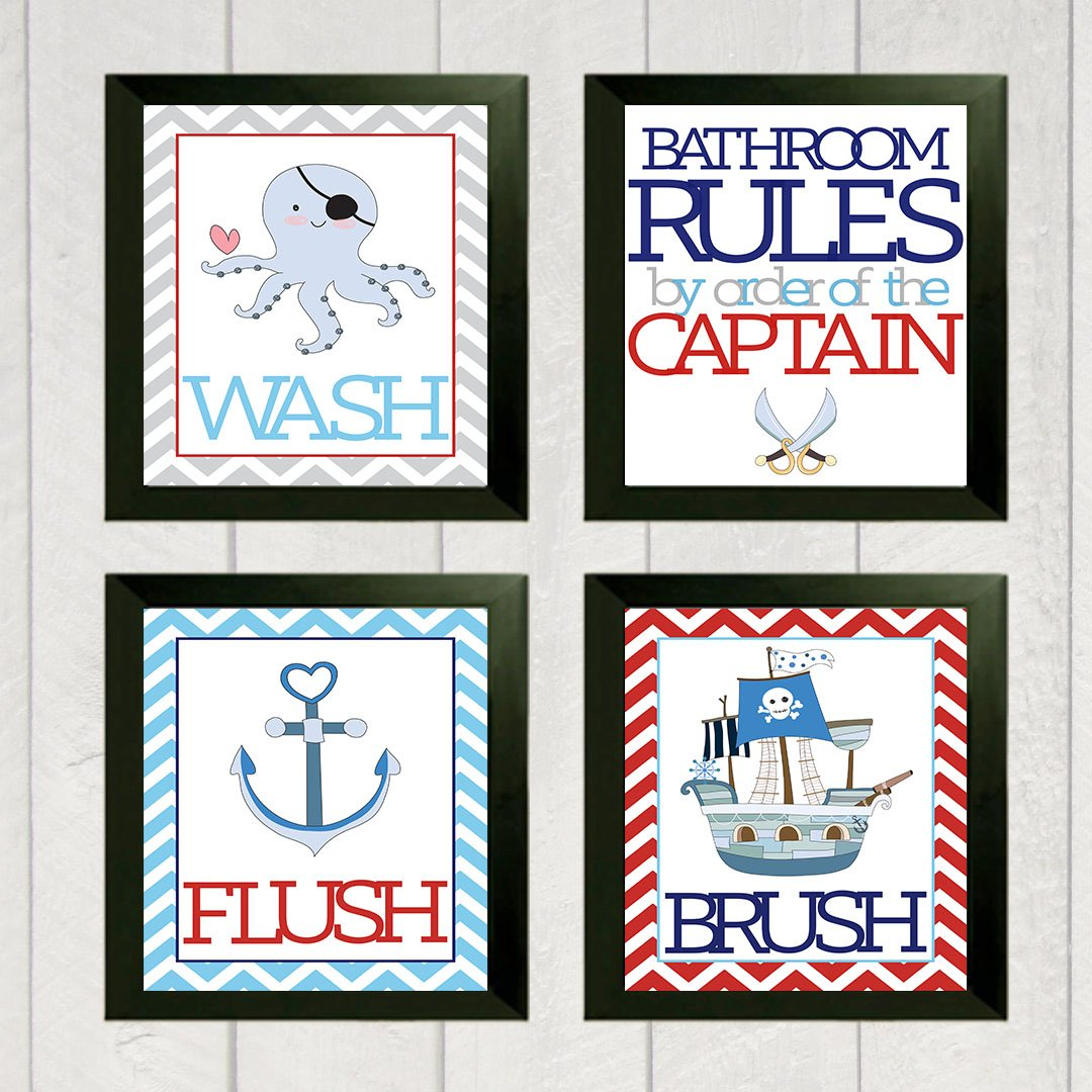Fun Pirate Children Bathroom Wall Decor (Set of Four)