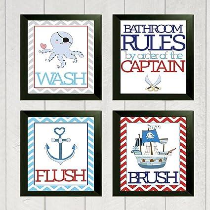 Fun Pirate Children Bathroom Wall Decor (Set Of Four)