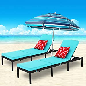 Do4U 2 PCS Patio Outdoor Chaise Lounge Chair- Adjustable Pool Lounge Chair Patio Furniture Wicker Couch Bed with Thick Cushion Expresso Rattan & PE Wicker Steel Frame (Turquoise)