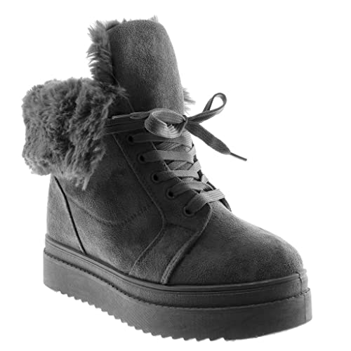 506e1a471943e Angkorly - Zapatillas Moda Botines Plataforma Botas Militares Botas de Nieve  Mujer Piel tacón Plano 4.5 CM  Amazon.es  Zapatos y complementos