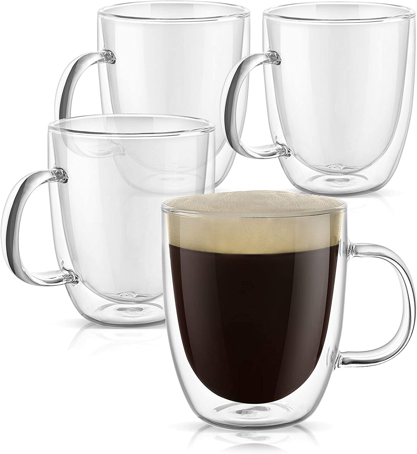 PunPun Glassware Large Clear Coffee Mugs Set of 4, Double Wall Insulated Glass Mugs with Handle, Thermal Glass Coffee Mugs Each 500ml (17 oz), Lead Free Hand Made