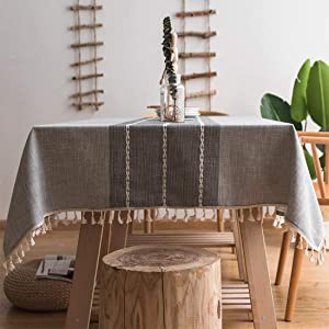 Smiry Embroidery Tassel Tablecloth - Cotton Linen Dust-Proof Table Cover for Kitchen Dining Room Party Home Tabletop Decoration (Rectangle/Oblong, 55 x 86 Inch, Gray)