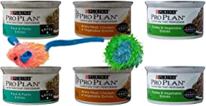 Purina Pro Plan Canned Wet Cat Food Entree 3 Flavor 6 Can Sampler with 2 Catnip Toys Bundle, (2) Trout Pasta, (2) White Meat Chicken Vegetable, (2) Turkey Vegetable (3 Ounces)