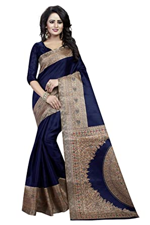c8331e34719932 Florence Blue Bhagalpuri Silk Printed Saree with Blouse(FL-PT-Kalamkari 2)