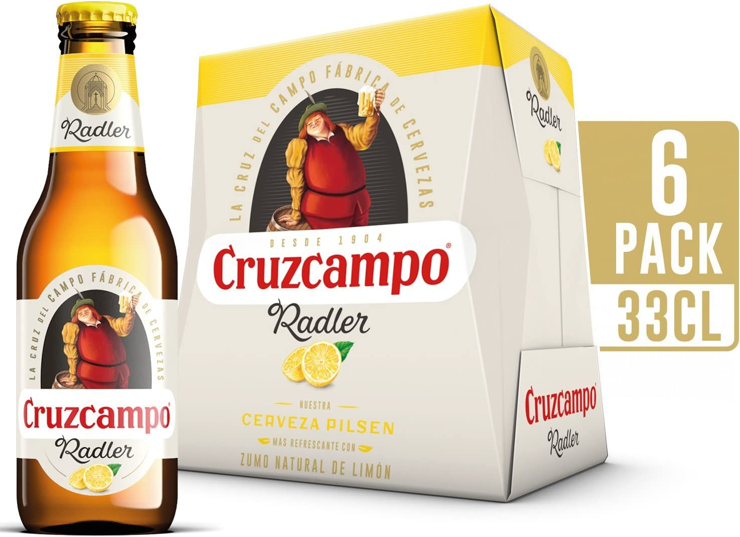 Cruzcampo Radler Limon Cerveza - Pack de 6 Botellas x 250 ml ...