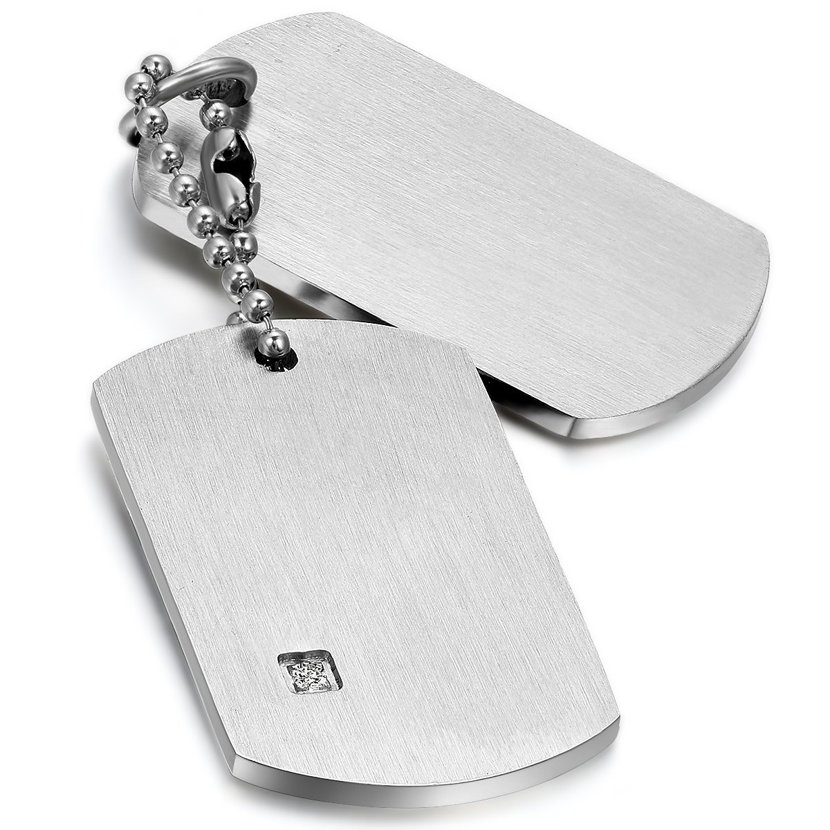 Mens Army Style Stainless Steel Double Dog Tag Pendant ...