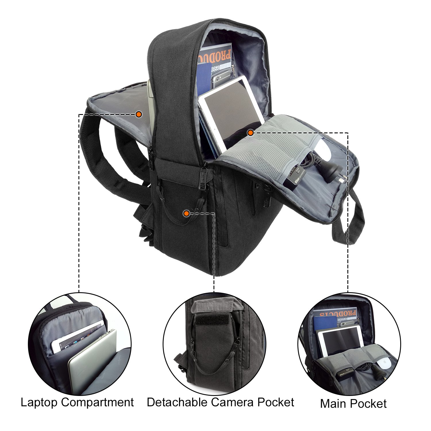 70a12b6d97 Victoriatourist DSLR Camera Backpack Multifunctional Travel Laptop Rucksack  for 16 Inch laptop Lens Tripod with Waterproof
