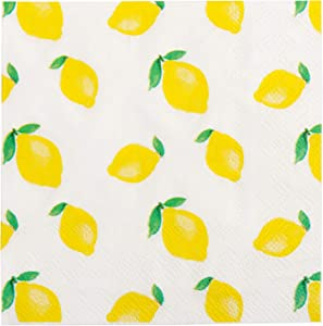 """X&O Paper Goods 00482T40 Yellow Lemon X&O Paper Goods Beverage and Cocktail Napkins, 20pc, 5"""" W x 5"""" L, 5"""" 5"""" L"""