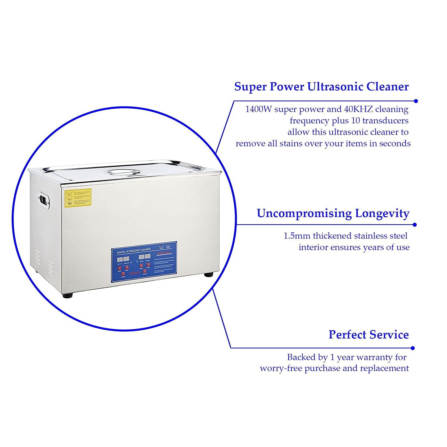 Co Z 30l Digital Professional Large Ultrasonic Jewelry Circuit Medium Power 40khz Ultrasound Transducer Driver Circuits Cleaning Machine Cleaner With Heater Timer 1400 W 10x60 Transducers Industrial