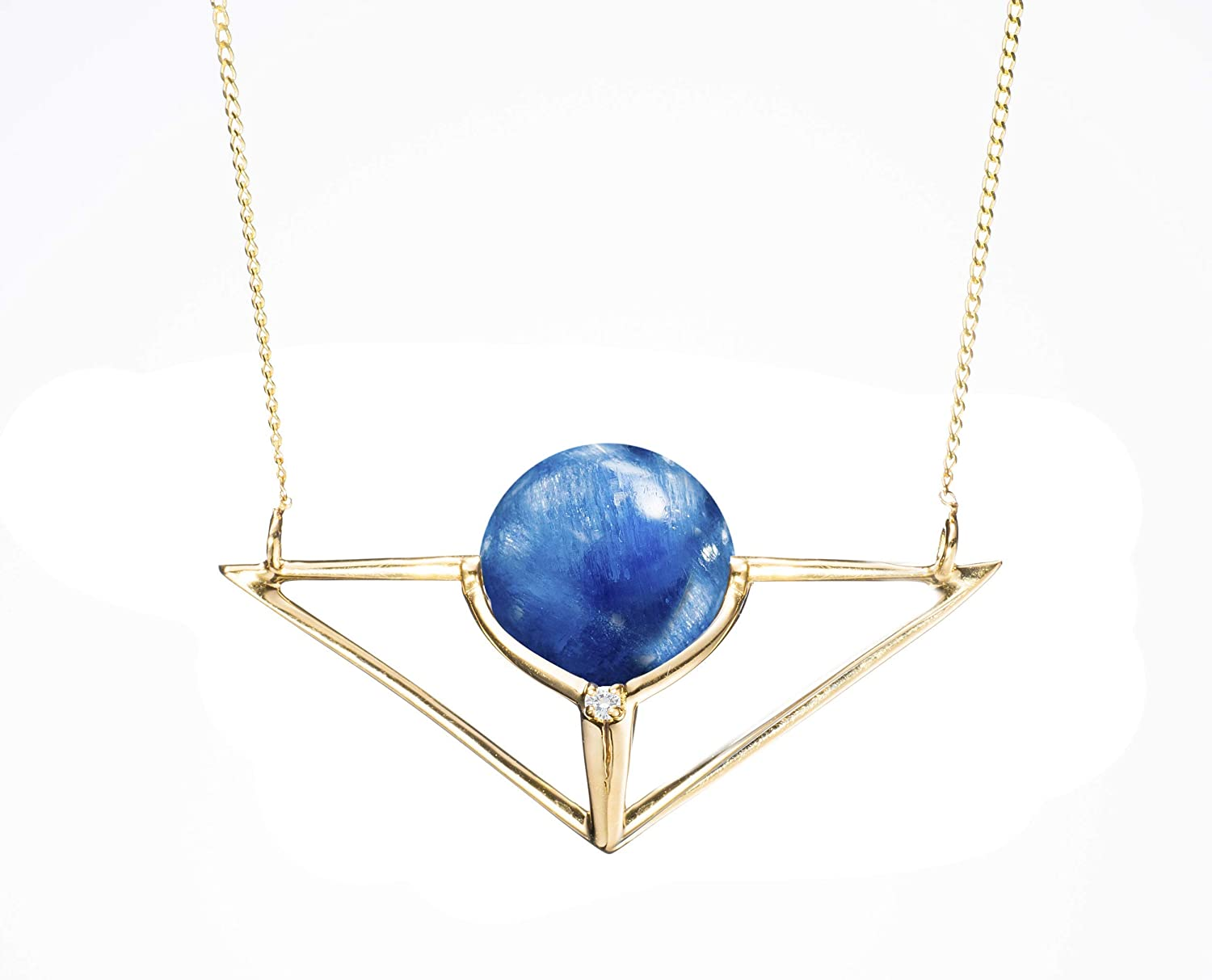 gold metal pendant Blue kyanite stone Jewelry Gold Necklace