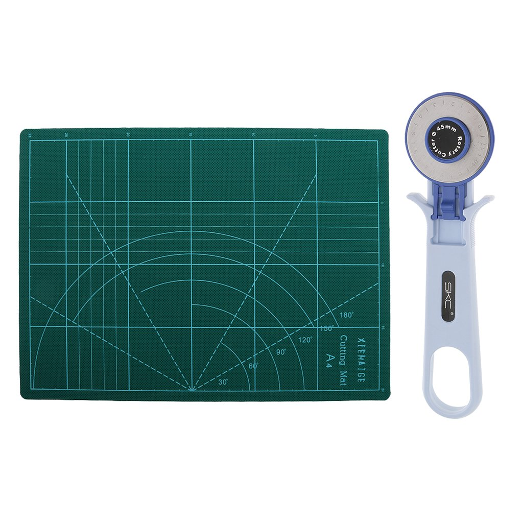 MonkeyJack 45mm Rotary Cutter Left/Right Handed Alternative + A4 Cutting Mat Board No Slip Fabric Quilting Tool