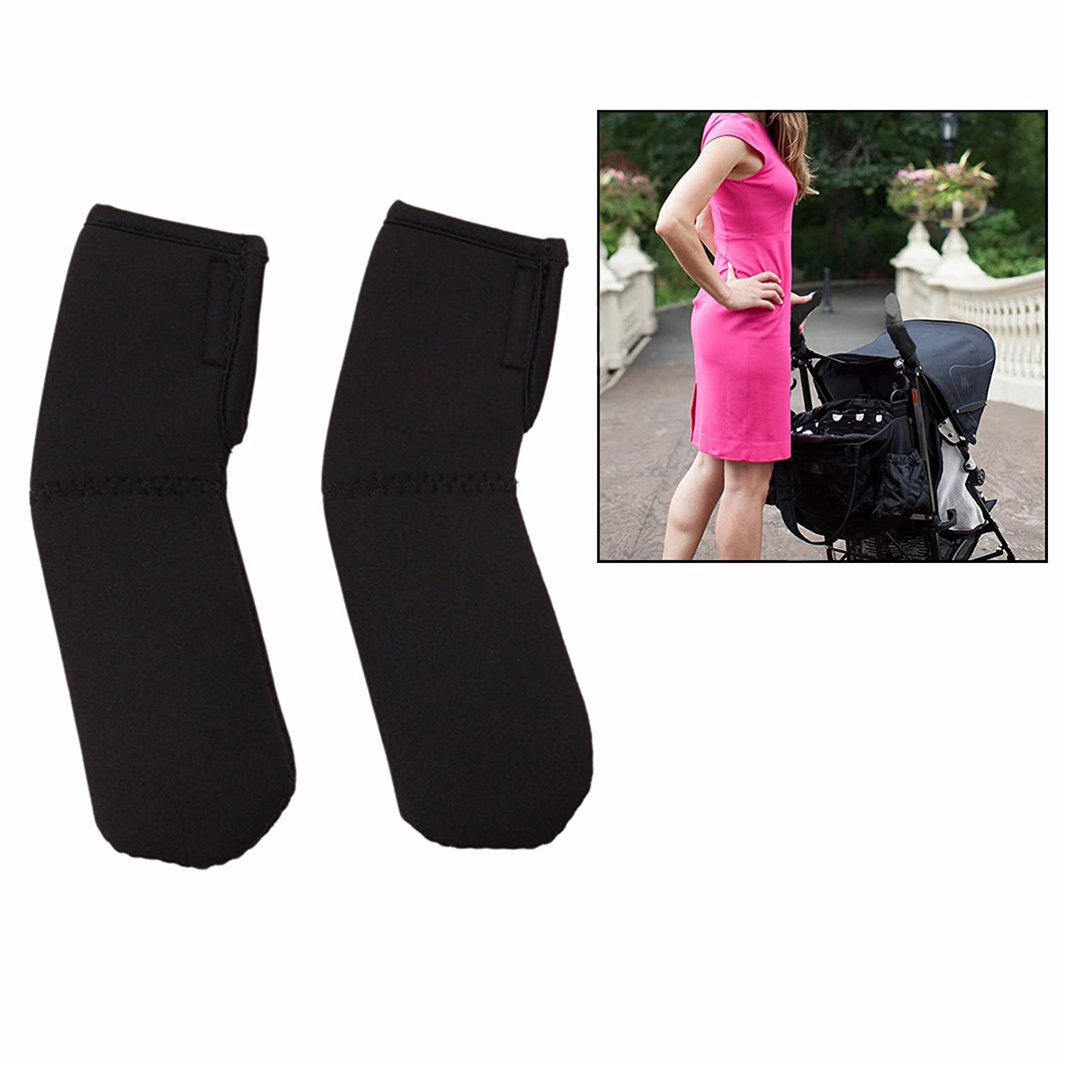 Cisixin 1 Pair Baby Stroller Grip Cover Stroller Handle Elasticity Protector Cover (Black)