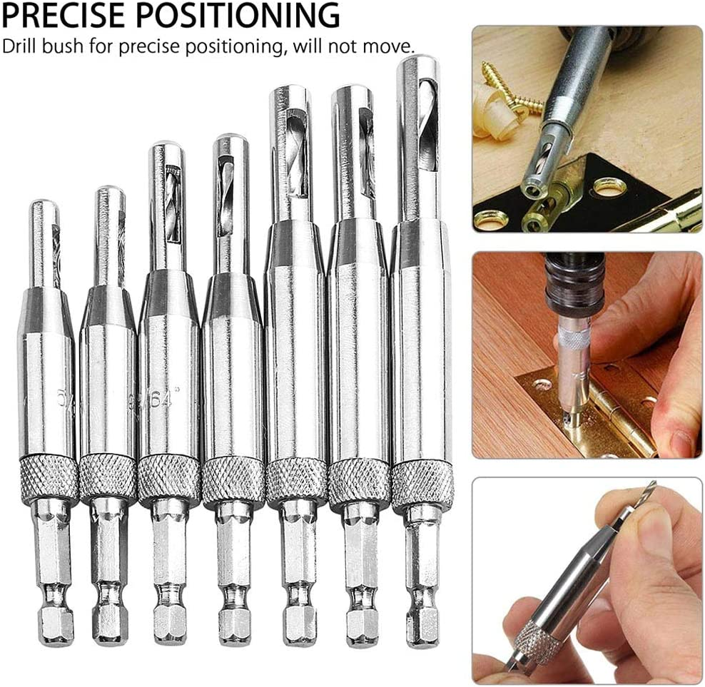 Baifeng 7 Pcs Door Window Hinge Twist Tool Wood Drill Bit Hole Puncher Self Centering