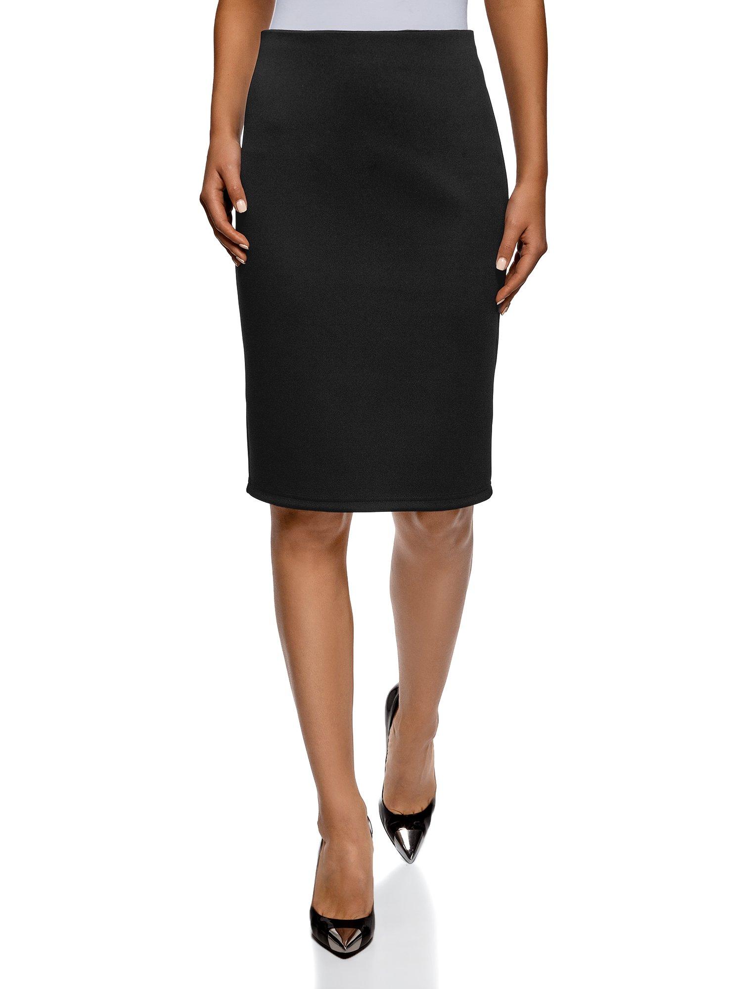 oodji Collection Women's Jersey Pencil Skirt, Black, 6
