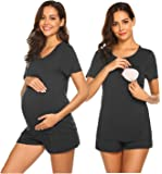 Ekouaer Labor/Delivery/Nursing Maternity Pajamas Set for Hospital Home, Basic Nursing Shirt, Adjustable Size Pregnancy…