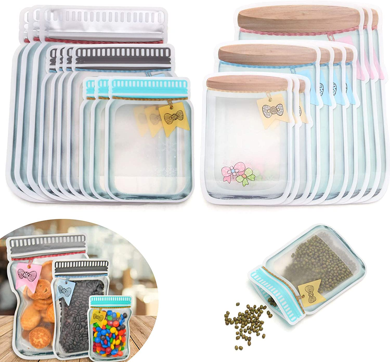 HLeoz 20pcs Mason Jar Ziplock Bags Storage for Food Snack Sandwich Reusable Airtight Seal Food Bag Leak-Proof Food Saver Bags for Travel Camping and Kids Resealable Zipper Bottles Shaped Baggies