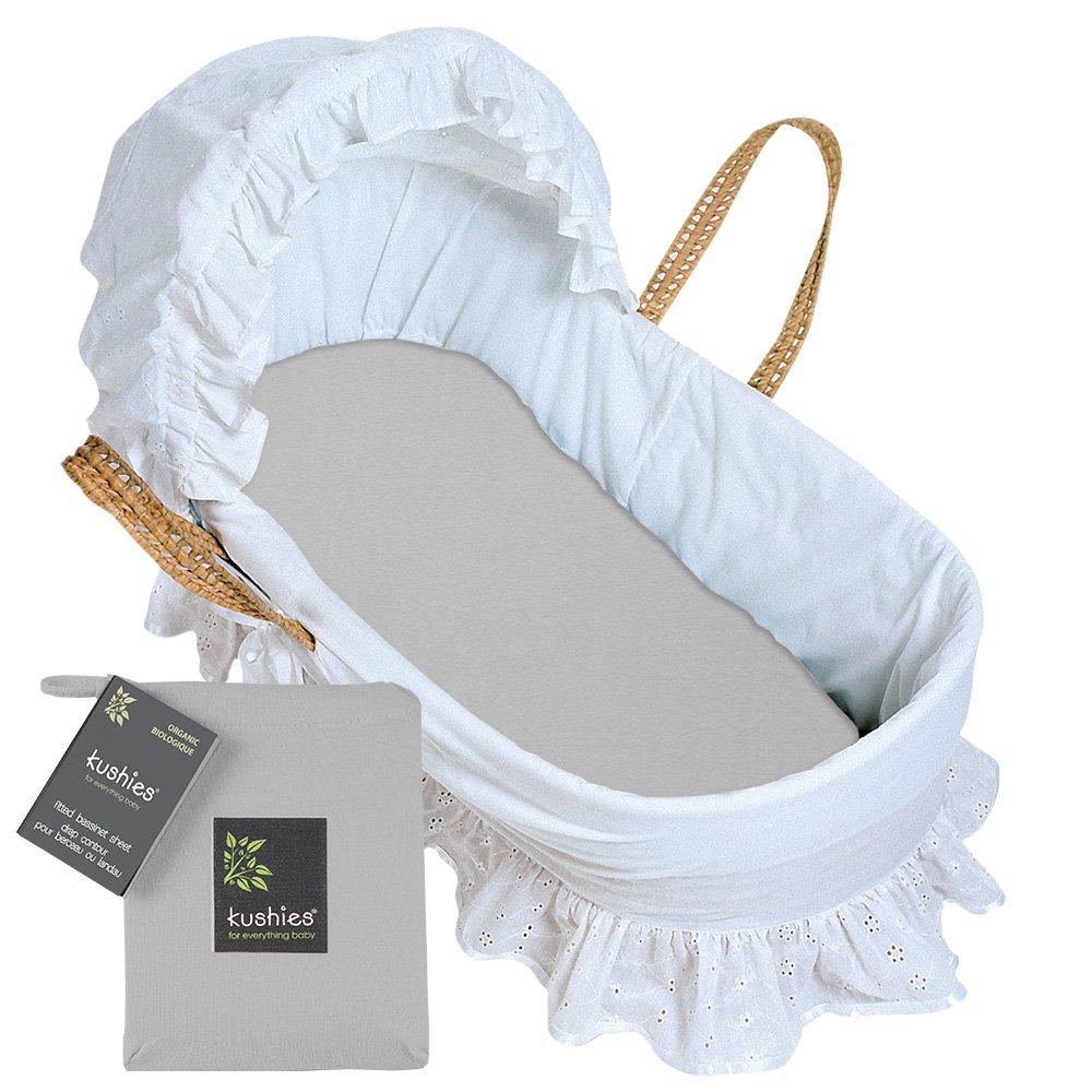 Kushies Baby Organic Jersey Bassinet Fitted Sheet, Grey by Kushies