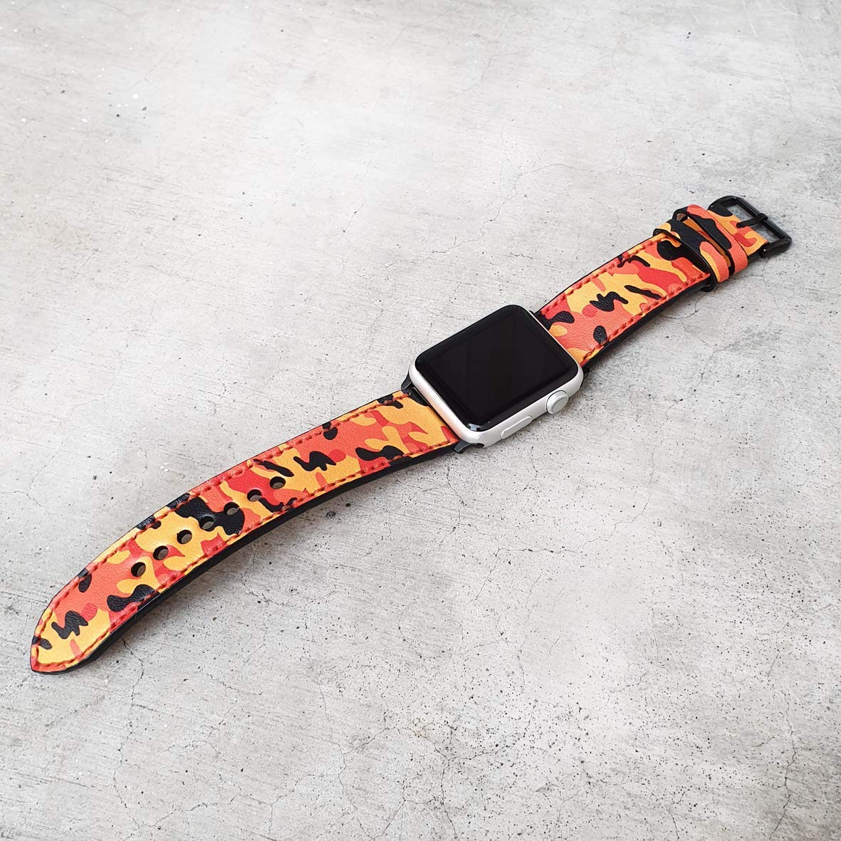 Orange Camo Band Apple Watch Band 38mm 40mm 42mm 44mm,Series 5 Series 4 Series 3 Series 2 Series 1,Hand-Stitched Handmade Apple Watch Leather