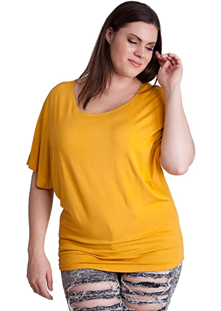 83d8fd48d31 Woman Mustard Yellow Plus Size Rayon Dolman Short Sleeve Top  Amazon.ca   Clothing   Accessories