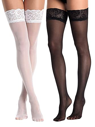 e25ba7e63 AMORETU Womens Hold-Up Thigh High Lace Top Sheer Stockings - 2 Pairs in Pack