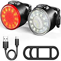Luzes de bicicleta frontal e traseira, conjunto de farol brilhante e lanterna traseira, liberação rápida…