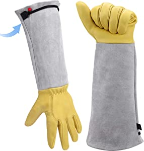 Long Gardening Gloves for Women/Men - Adjustable Cuff Goatskin &Cowhide Thorn Proof Cactus Rose Pruning Gloves Leather Work Gauntlet Puncture Proof Elbow Long Sleeve Garden Gloves weeding