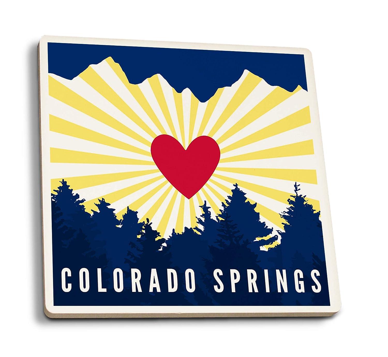 コロラドスプリングス - ハートとトレイン山脈 4 Coaster Set LANT-89424-CT 4 Coaster Set  B07K5H6Z97