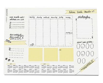 Vade de sobremesa, diseño de calendario semanal, 25 hojas de ...