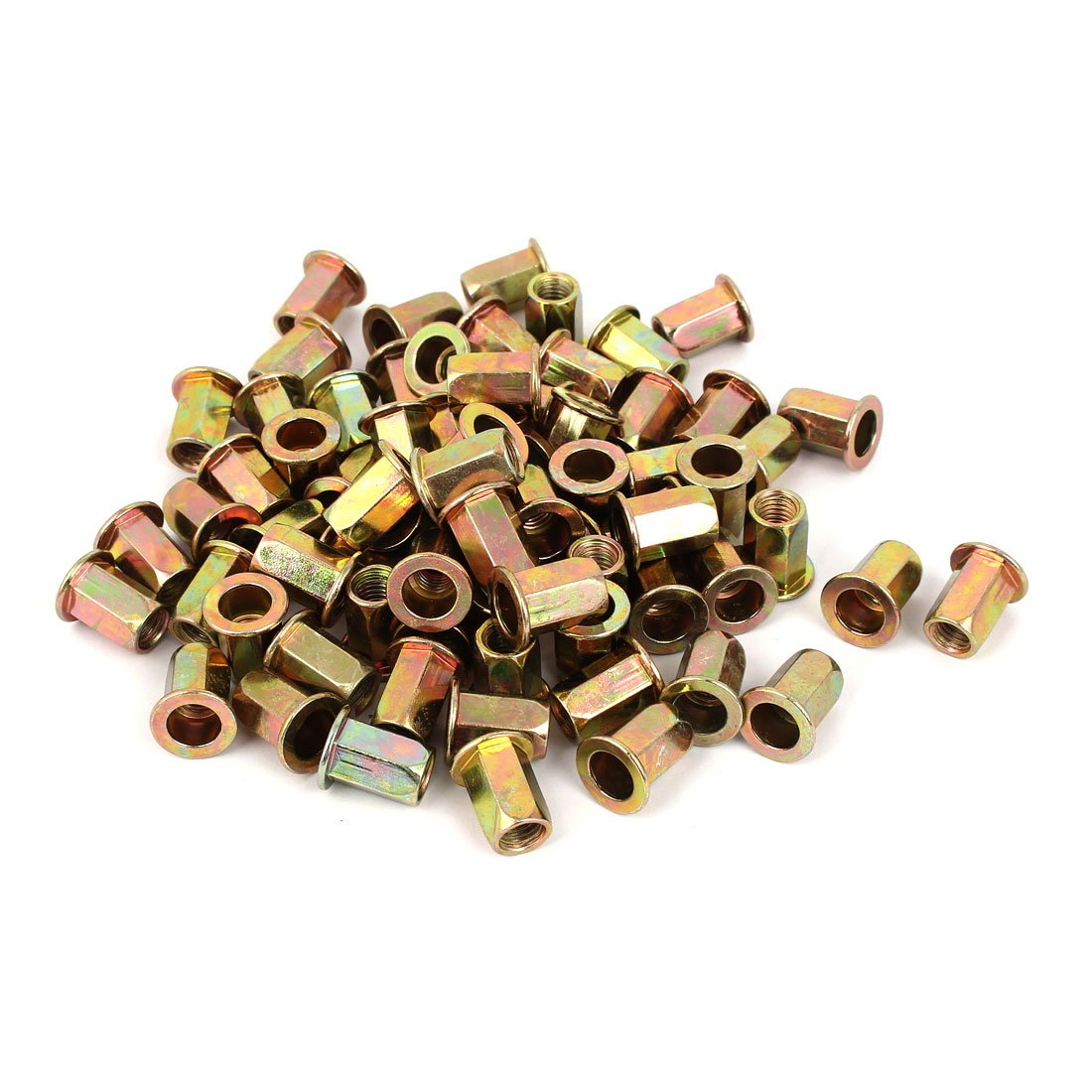 uxcell M8 Flat Head Hexagon Rivet Nut Insert Nutsert Bronze Tone 100pcs