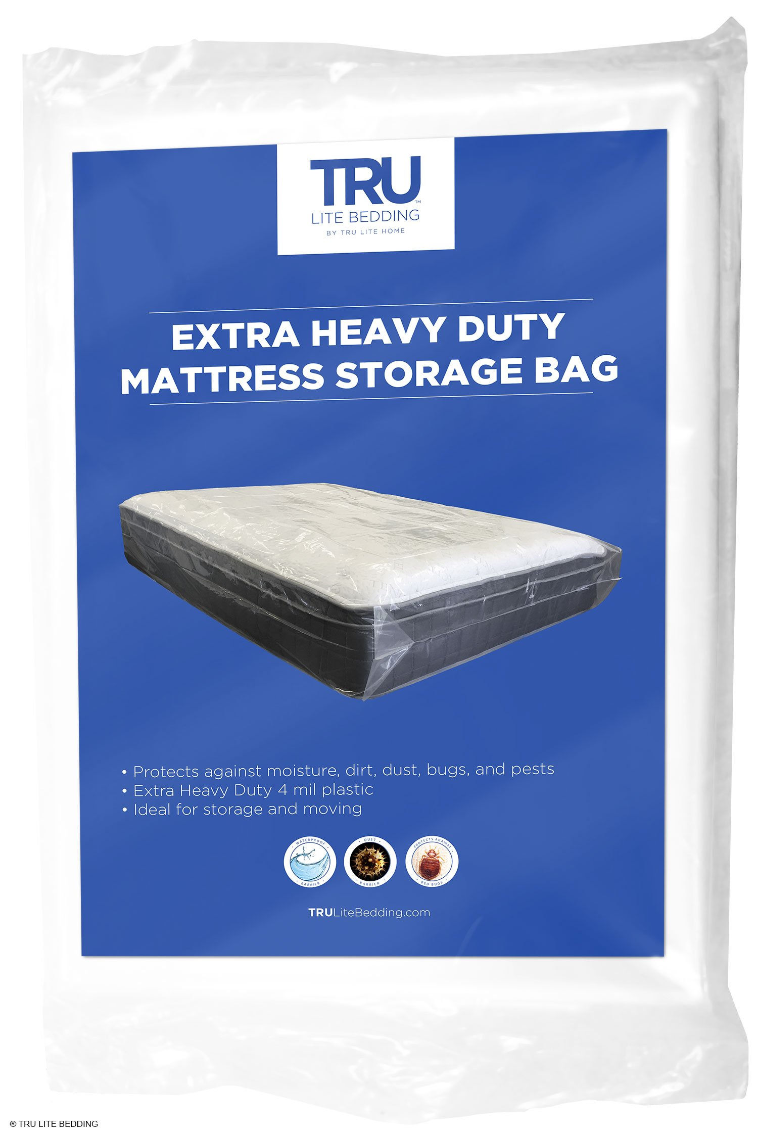 TRU Lite Mattress Storage Bag - Mattress Bag for Moving - Heavy Duty Extra Thick 4 Mil Plastic - Fits Standard, Extra Long, Pillow Top Sizes - Twin Size