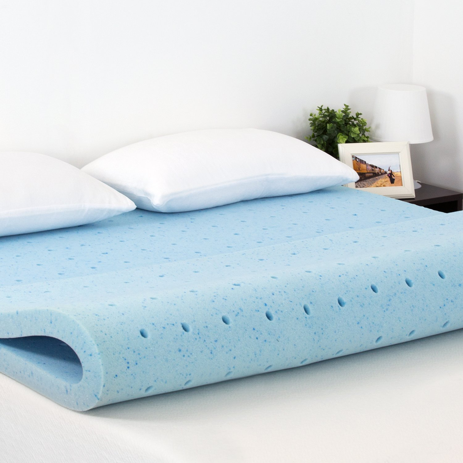 Furinno FT26221TXL 2-inch HD Gel-Infused Conventional Bed Mattress, Twin XL, Blue by Furinno