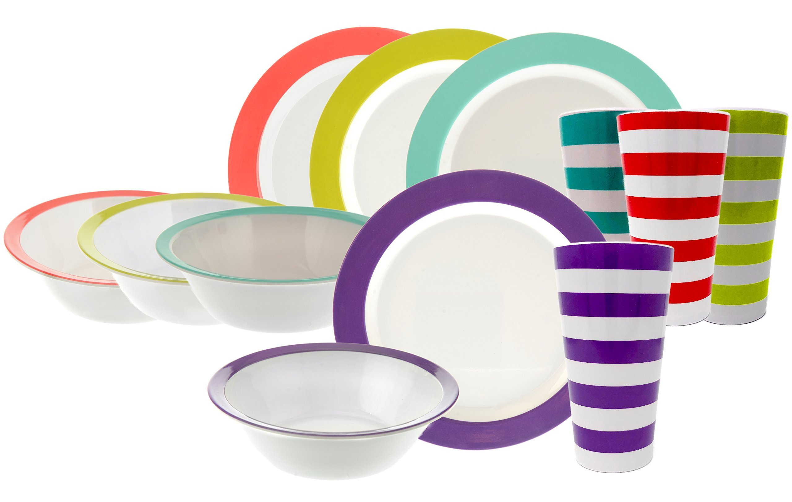 Handi-Ware 12-Piece MultiColor Classic Wide Rim Melamine Set - Indoor/Outdoor Dinnerware Set - Service For 4 - by Unity (Assorted w/Tumblers)
